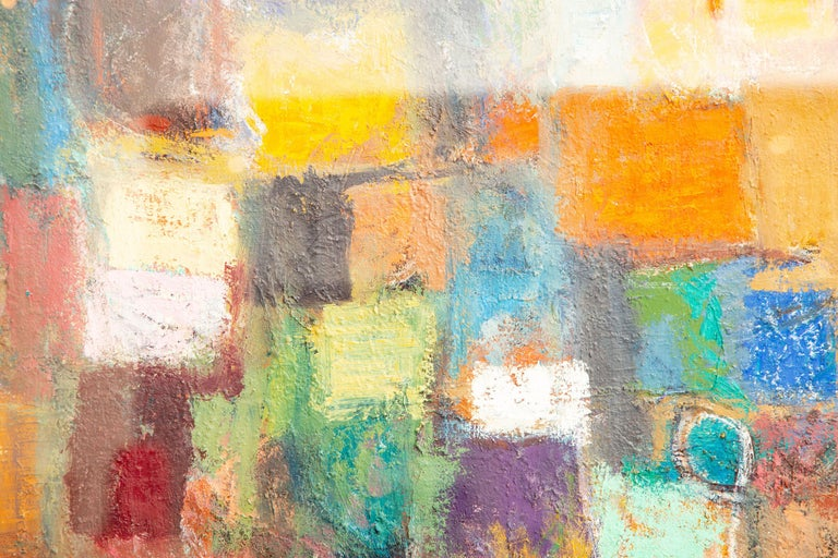 American Martin Rosenthal Abstract Orange, Blue, Green Oil on Paper Custom Framed Vintage For Sale