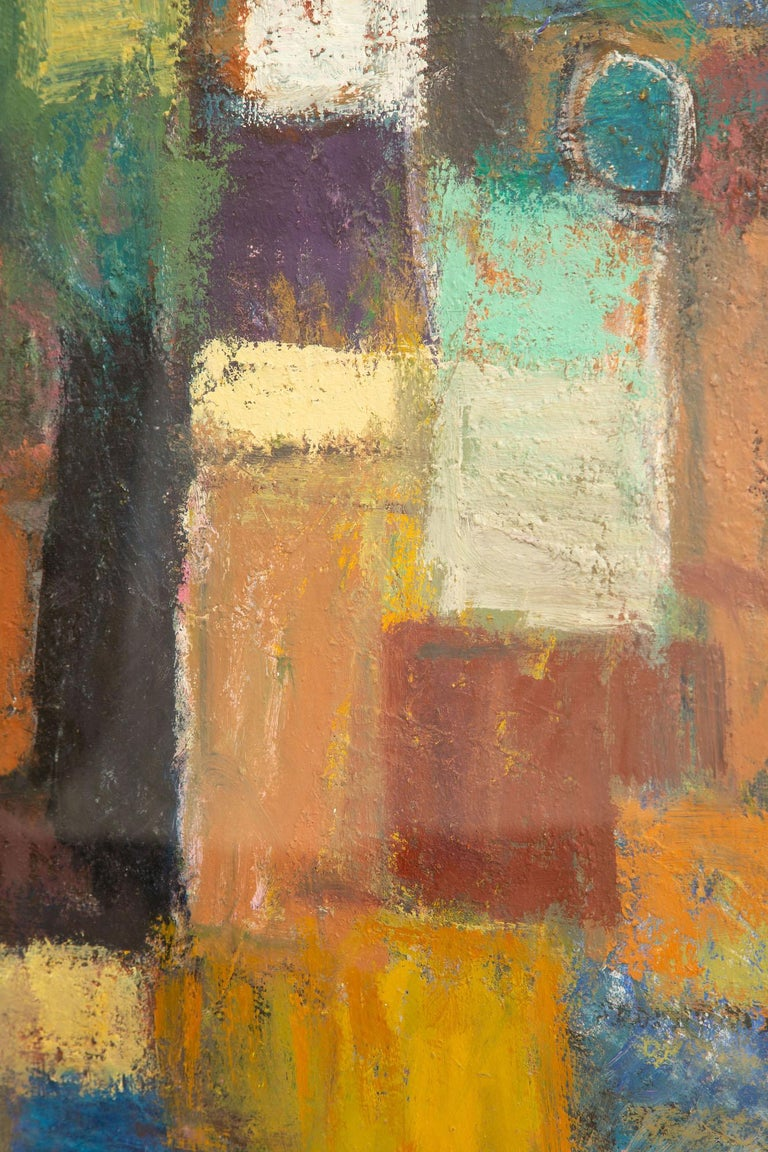 Martin Rosenthal Abstract Orange, Blue, Green Oil on Paper Custom Framed Vintage In Good Condition For Sale In North Miami, FL