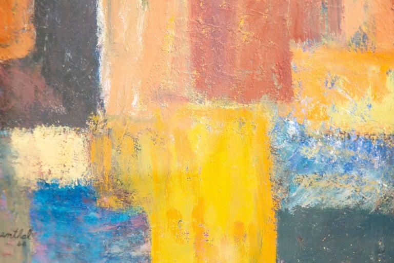 Mid-20th Century Martin Rosenthal Abstract Orange, Blue, Green Oil on Paper Custom Framed Vintage For Sale