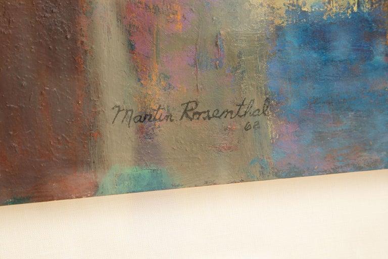 Linen Martin Rosenthal Abstract Orange, Blue, Green Oil on Paper Custom Framed Vintage For Sale