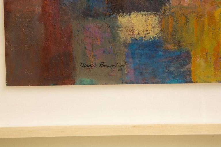 Martin Rosenthal Abstract Orange, Blue, Green Oil on Paper Custom Framed Vintage For Sale 1