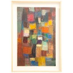 Martin Rosenthal Abstract Orange, Blue, Green Oil on Paper Custom Framed Vintage