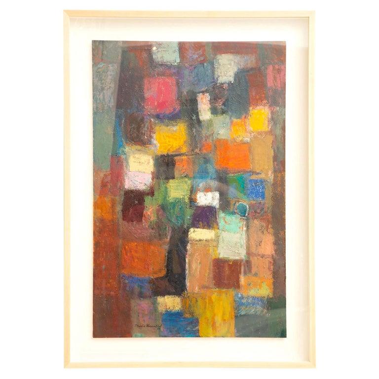 Martin Rosenthal Abstract Orange, Blue, Green Oil on Paper Custom Framed Vintage For Sale