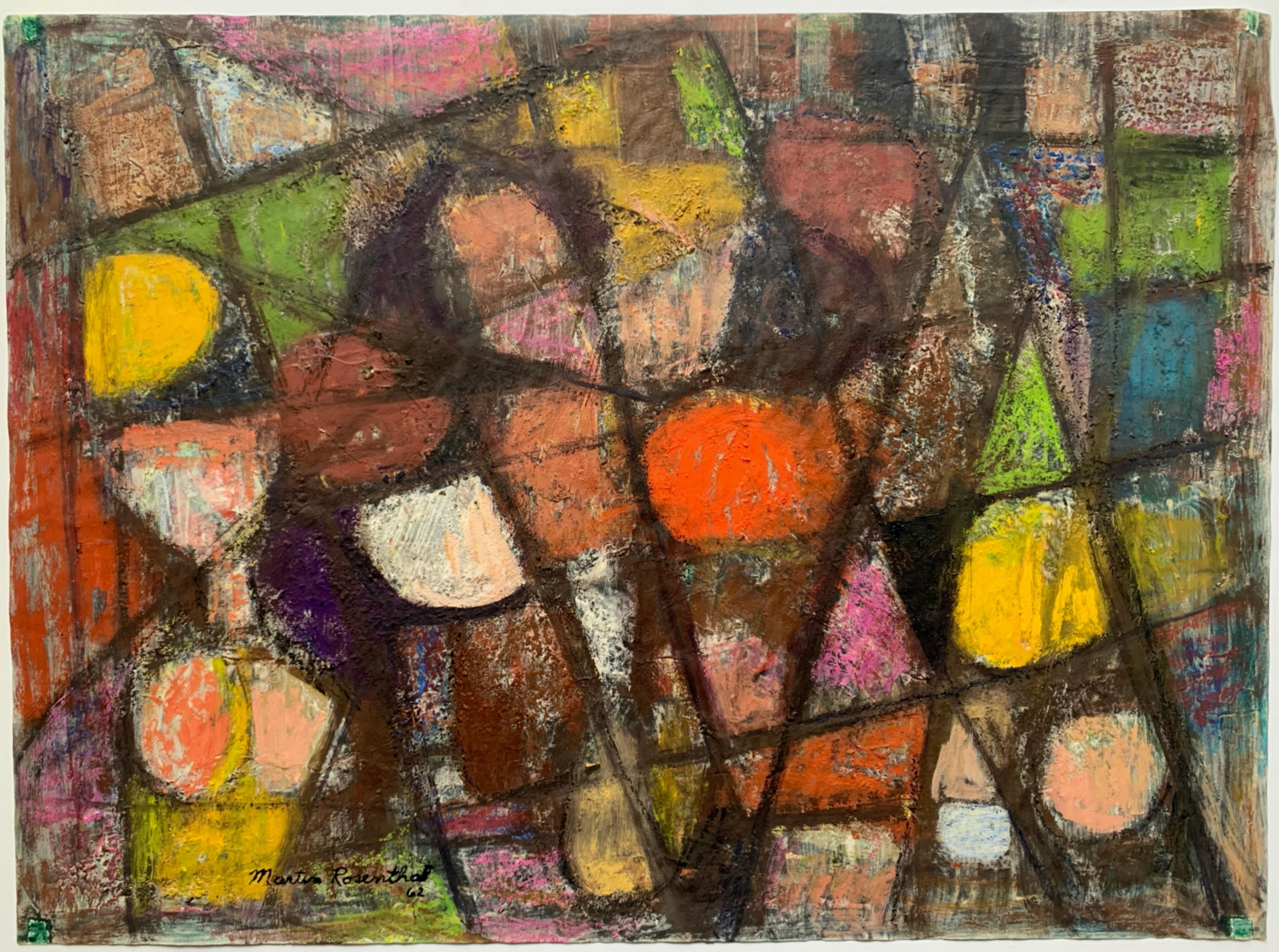 """1962 """"Flowers Blooming"""" Mid Century Encaustic Oil Paint Abstract NYC Artist"""