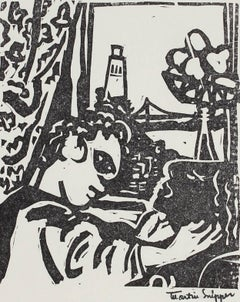 Figures by Coit Tower, San Francisco, Mid Century Linocut