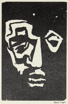 Portrait in Reduction Mid 20th Century Linoleum Block Print