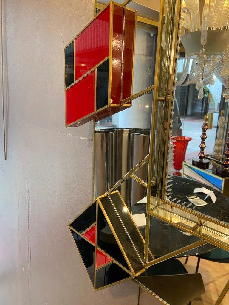 Martin Studio, black and red mirror, circa 2000 H 133 x L 115 cm  Signed Unique model.