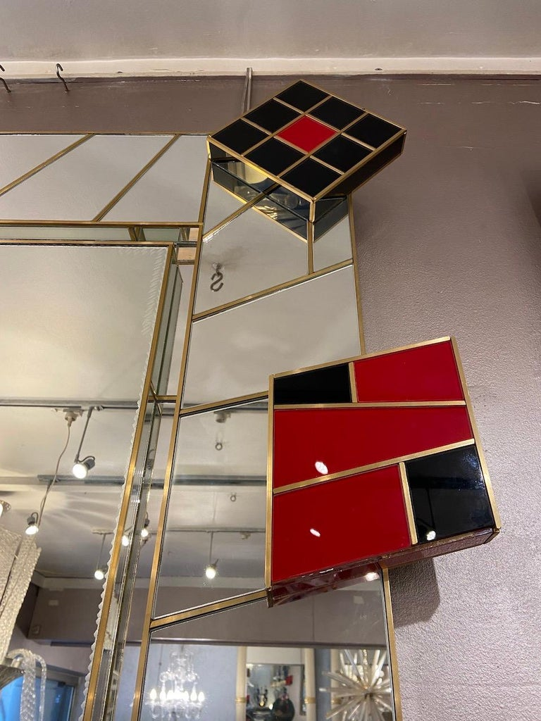 Martin Studio, Black and Red Mirror, circa 2000 In Good Condition For Sale In Saint ouen, FR