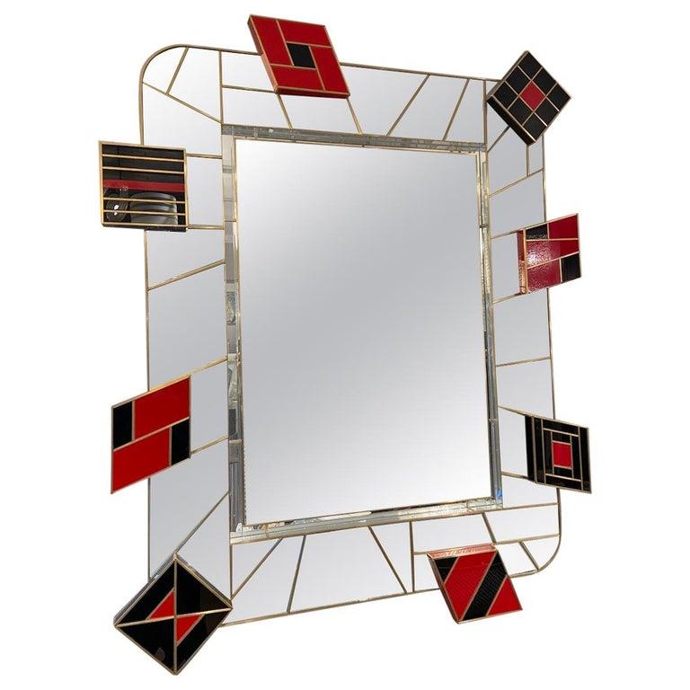 Martin Studio, Black and Red Mirror, circa 2000 For Sale