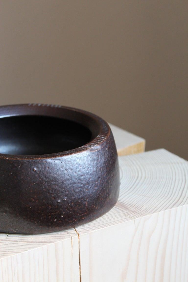 Swedish Martin Svensson, Small Bowl, Glazed Stoneware for Höganäs, Sweden, 1930s For Sale