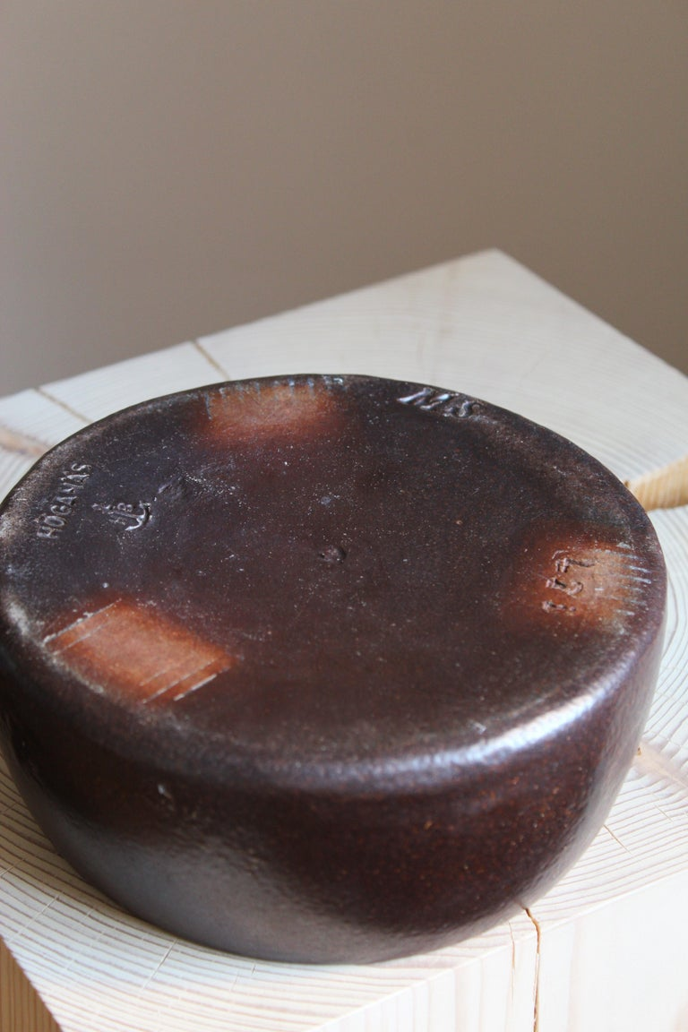 Martin Svensson, Small Bowl, Glazed Stoneware for Höganäs, Sweden, 1930s In Good Condition For Sale In West Palm Beach, FL