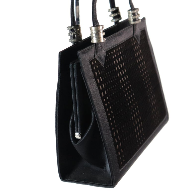 Martin Van Schaak Black Velvet Grid Pattern W/ Rhinestone Hardware from 1960s. In excellent condition, very rare bag   Measurements:   Height - 6.5 Inches  Width - 8.6 Inches  Height with Strap - 11.3 Inches