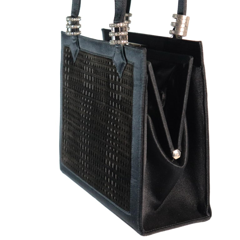 Martin Van Schaak Black Velvet Grid Pattern W/ Rhinestone Hardware  In Excellent Condition For Sale In Los Angeles, CA