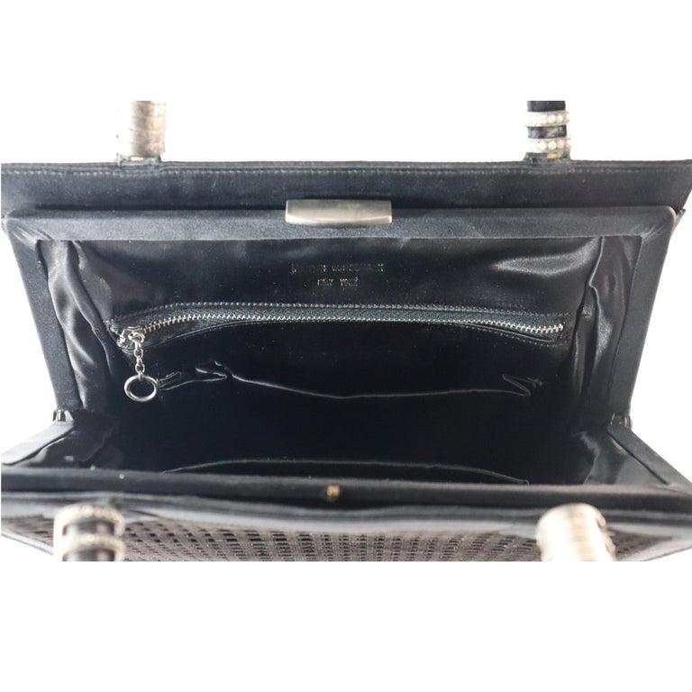 Women's Martin Van Schaak Black Velvet Grid Pattern W/ Rhinestone Hardware  For Sale
