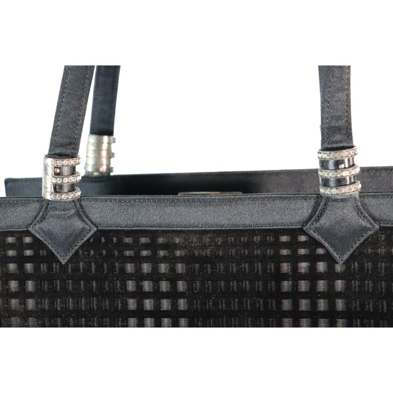 Martin Van Schaak Black Velvet Grid Pattern W/ Rhinestone Hardware  For Sale 2