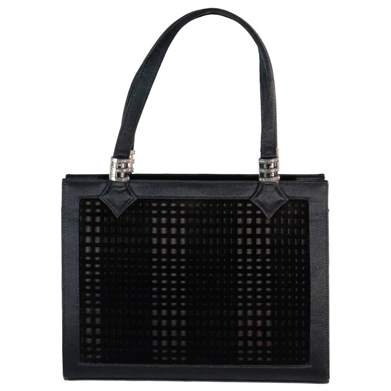 Martin Van Schaak Black Velvet Grid Pattern W/ Rhinestone Hardware  For Sale
