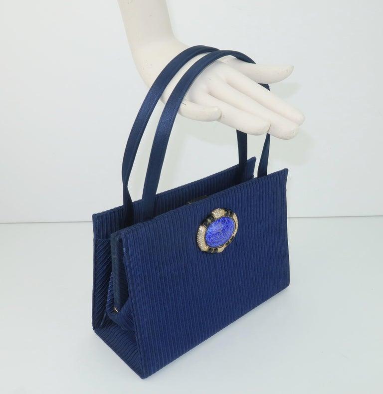 Martin Van Schaak Royal Blue Fabric Handbag, 1960's For Sale 8