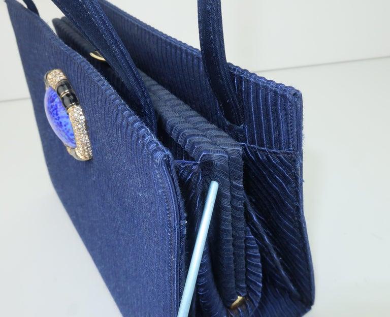 Martin Van Schaak Royal Blue Fabric Handbag, 1960's For Sale 10