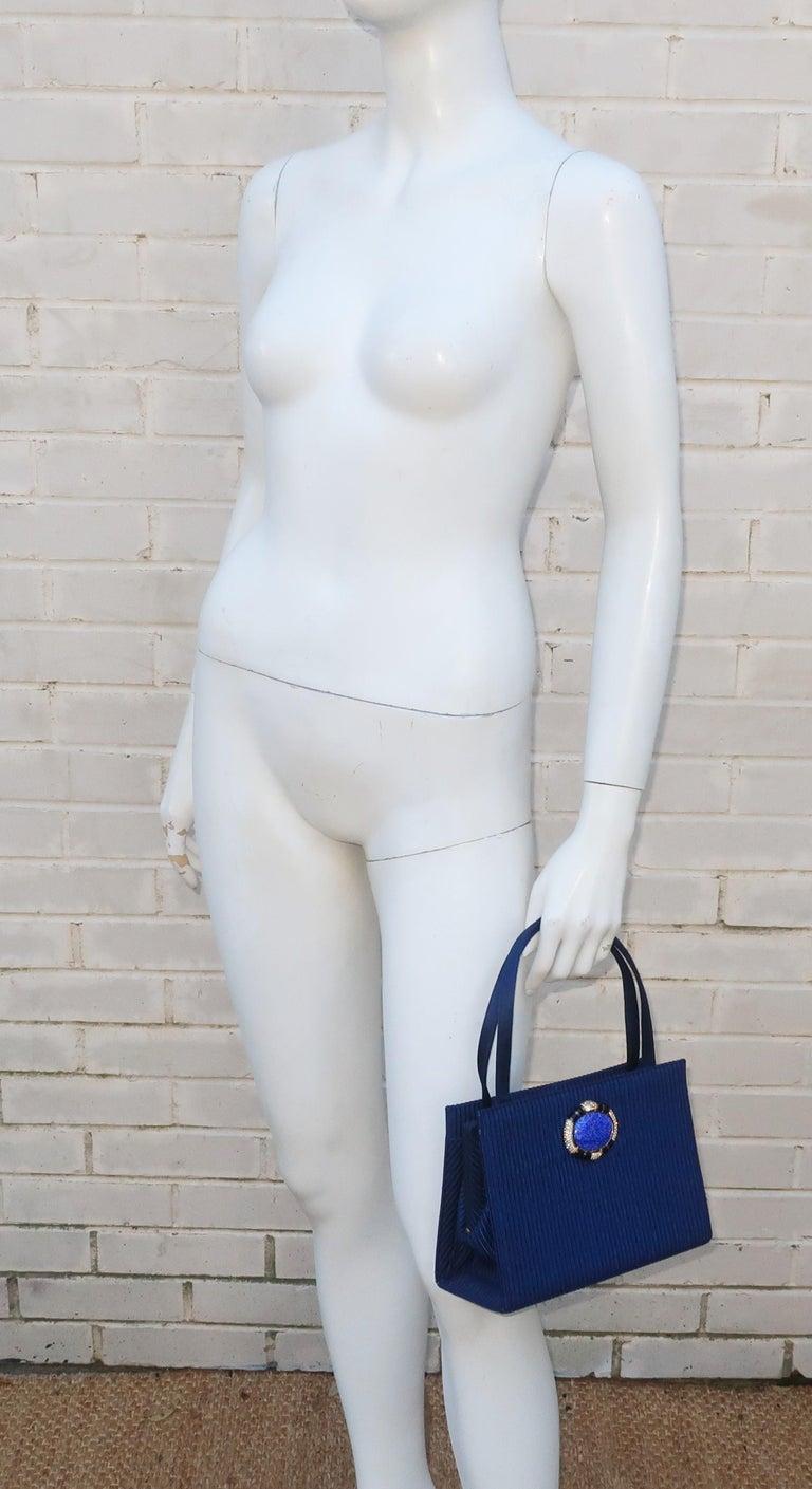 Martin Van Schaak Royal Blue Fabric Handbag, 1960's For Sale 9