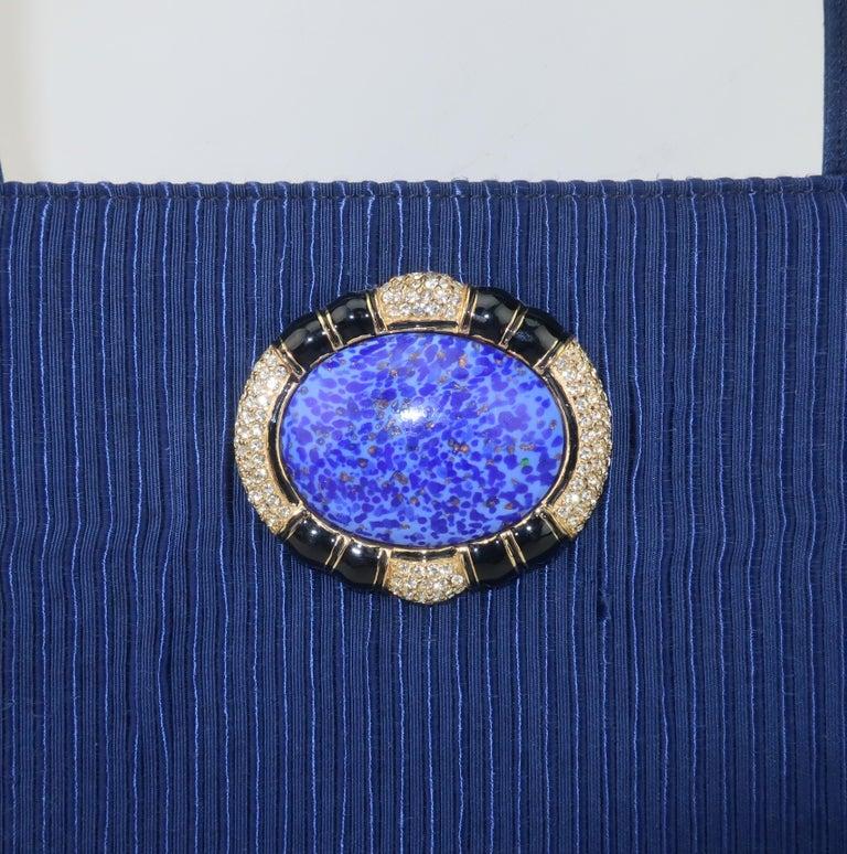 Martin Van Schaak Royal Blue Fabric Handbag, 1960's In Good Condition For Sale In Atlanta, GA