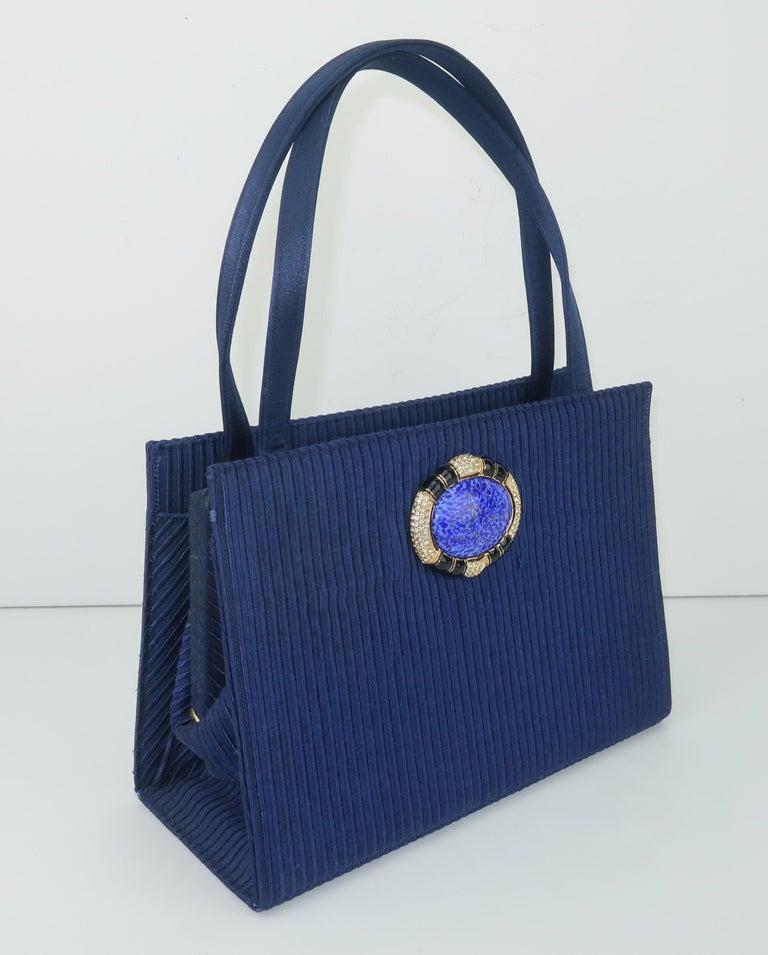 Women's Martin Van Schaak Royal Blue Fabric Handbag, 1960's For Sale