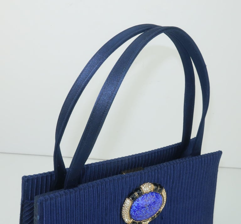Martin Van Schaak Royal Blue Fabric Handbag, 1960's For Sale 1
