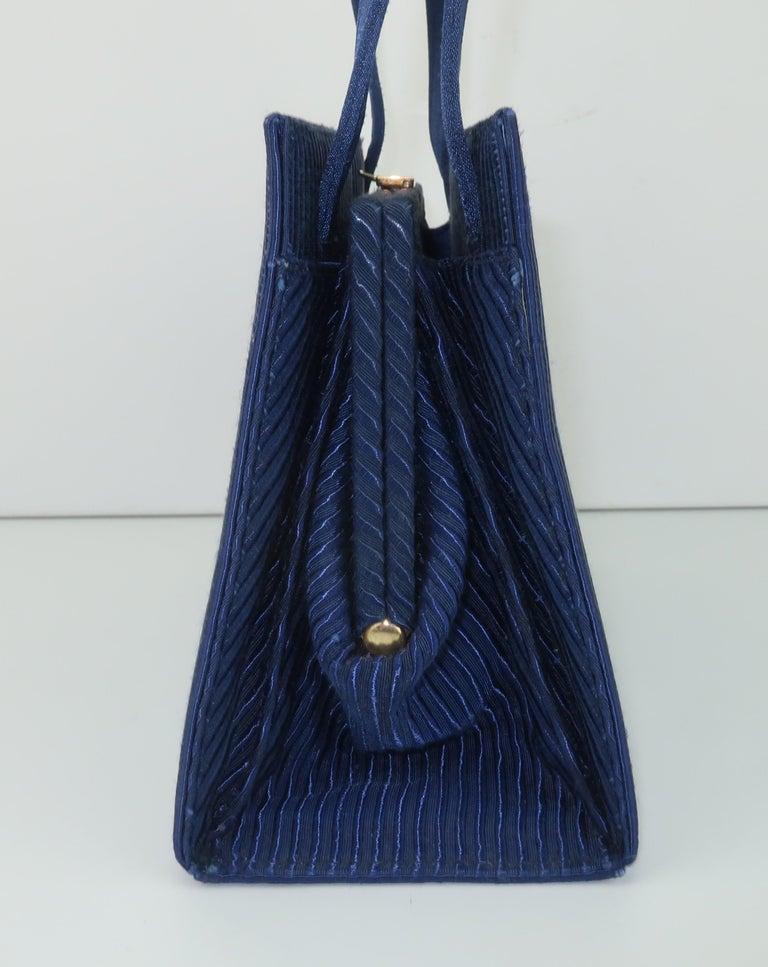 Martin Van Schaak Royal Blue Fabric Handbag, 1960's For Sale 2