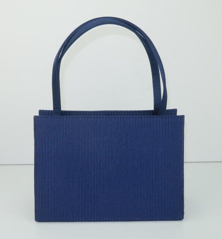 Martin Van Schaak Royal Blue Fabric Handbag, 1960's For Sale 3