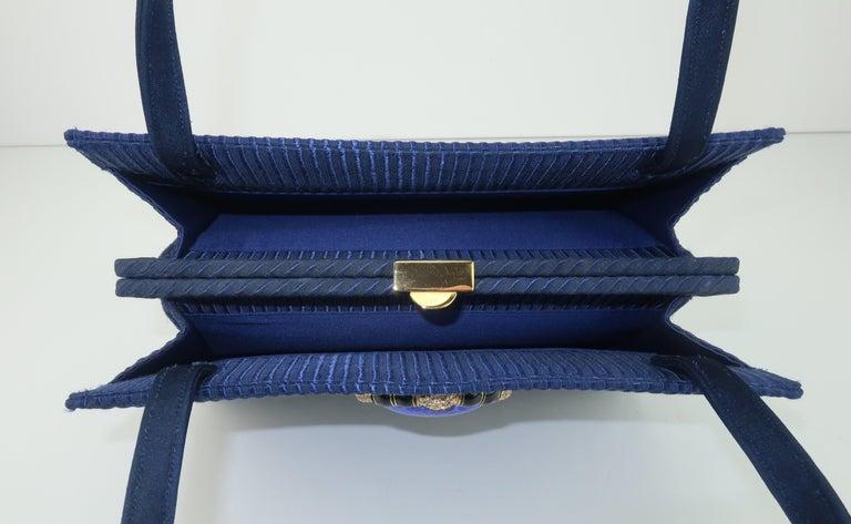 Martin Van Schaak Royal Blue Fabric Handbag, 1960's For Sale 5