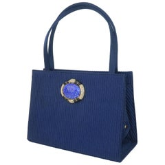 Martin Van Schaak Royal Blue Fabric Handbag, 1960's