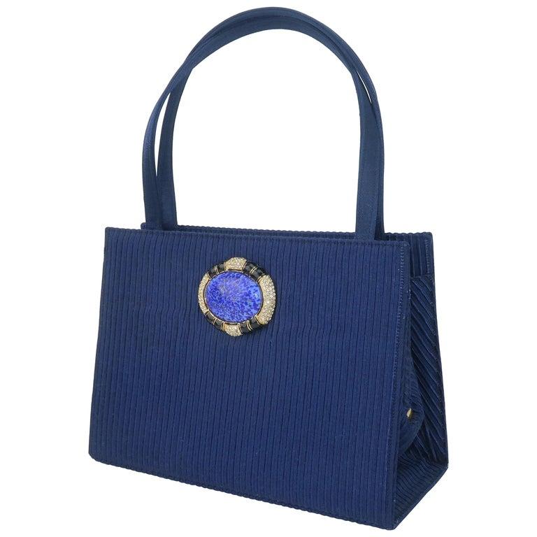 Martin Van Schaak Royal Blue Fabric Handbag, 1960's For Sale