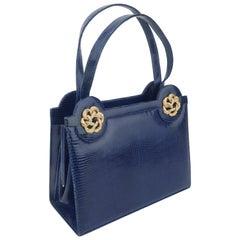 Martin Van Schaak Royal Blue Lizard Skin Handbag, 1960's