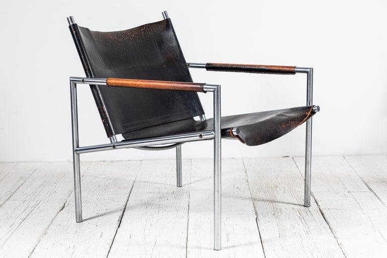 Danish Martin Visser Leather and Chrome Easy Chair For Sale