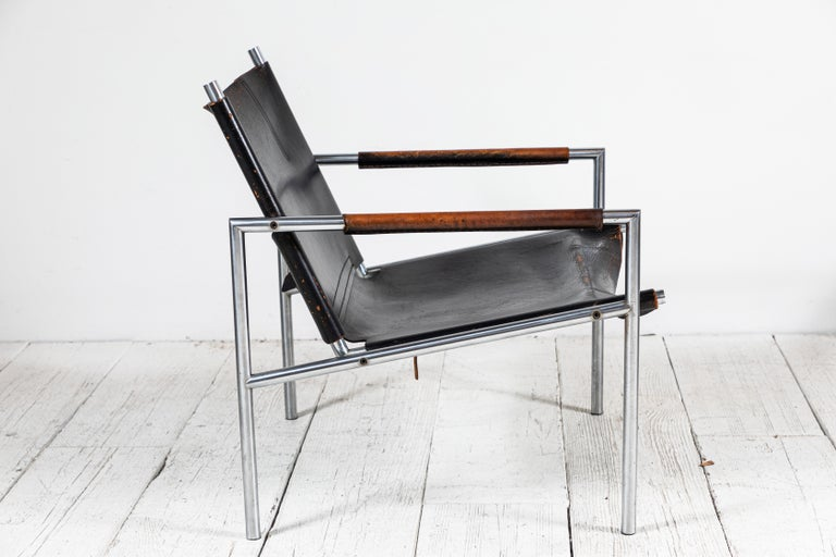 Martin Visser Leather and Chrome Easy Chair In Good Condition For Sale In Los Angeles, CA