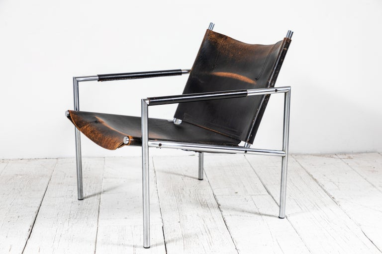1960s Martin Visser Leather and Chrome Easy Chair For Sale