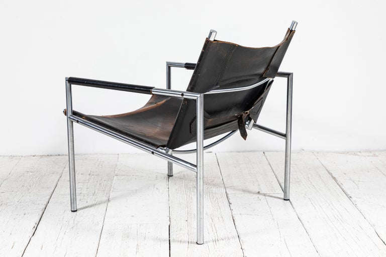 Martin Visser Leather and Chrome Easy Chair For Sale 1