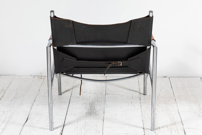 Martin Visser Leather and Chrome Easy Chair For Sale 2