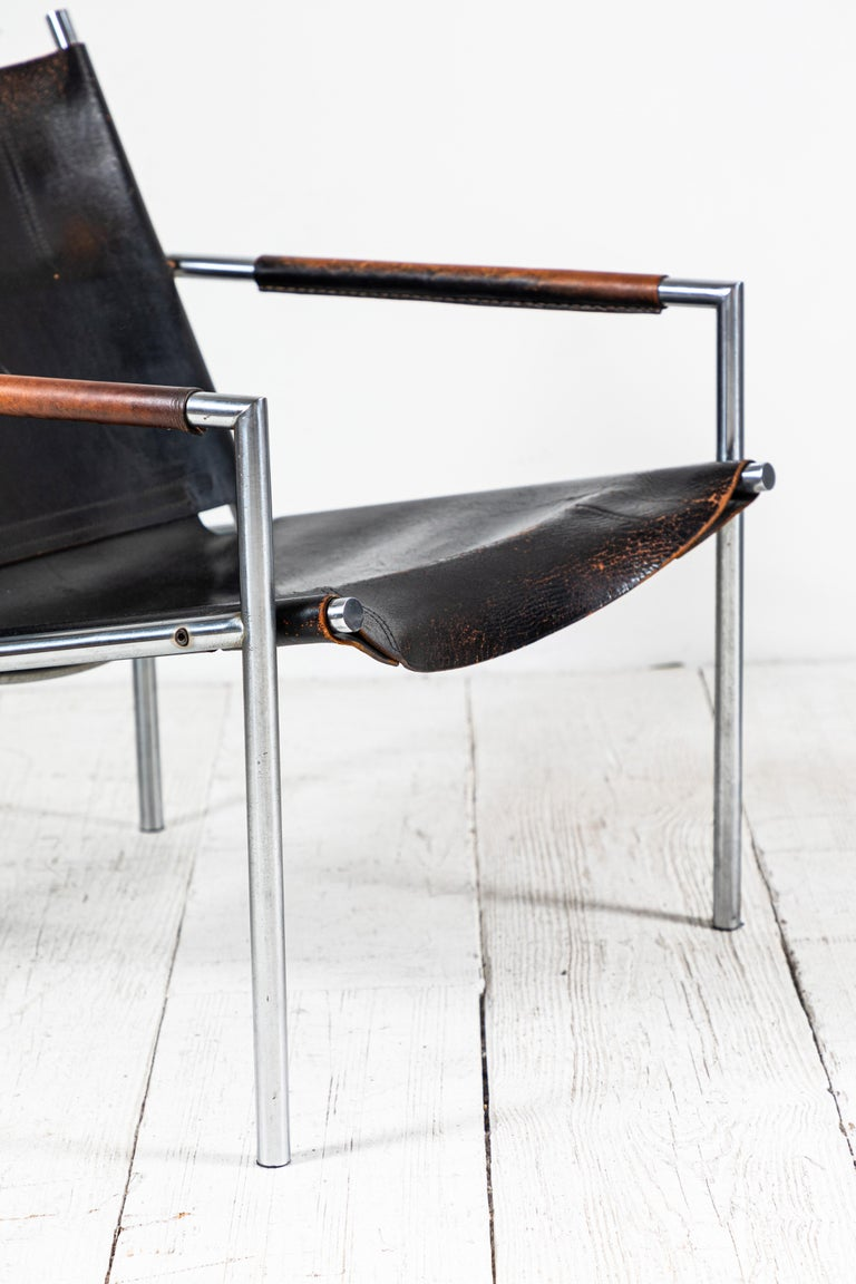 Martin Visser Leather and Chrome Easy Chair For Sale 4