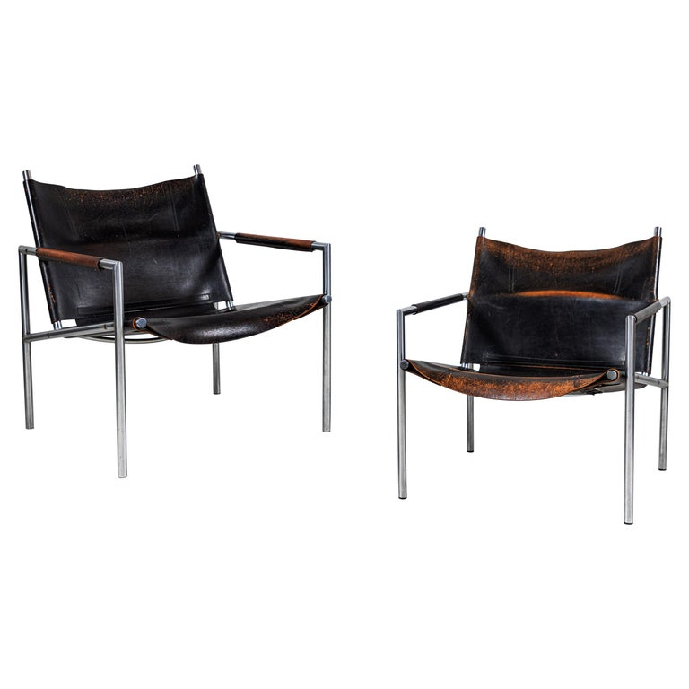 Martin Visser Leather and Chrome Easy Chair For Sale
