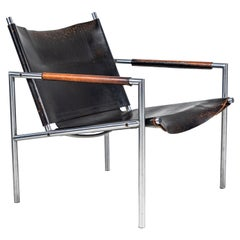 Martin Visser Leather and Chrome Easy Chair