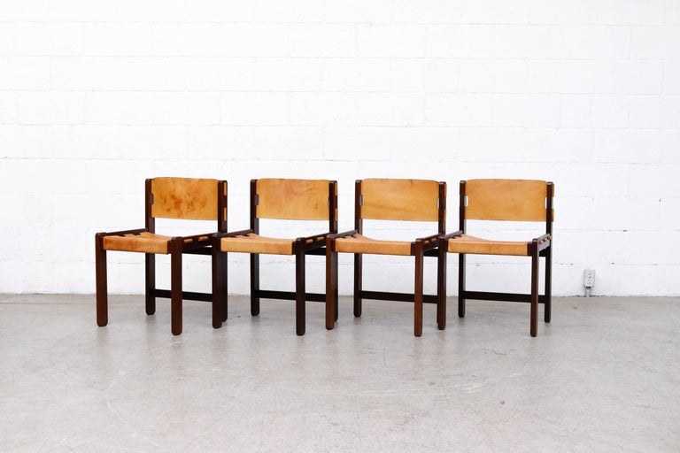 Mid-Century Modern Martin Visser Set of 4 Leather and Wenge Dining Chairs For Sale