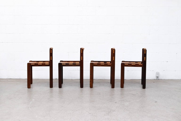 Dutch Martin Visser Set of 4 Leather and Wenge Dining Chairs For Sale