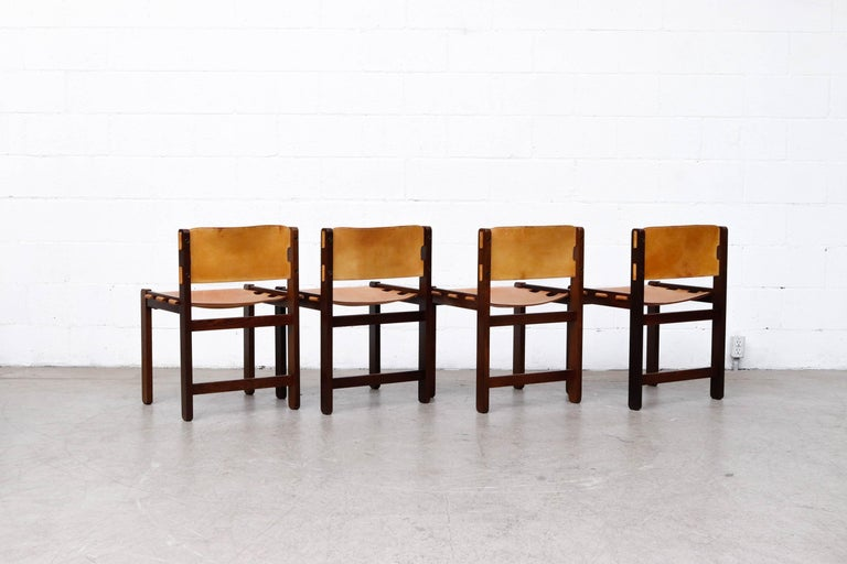 Martin Visser Set of 4 Leather and Wenge Dining Chairs In Good Condition For Sale In Los Angeles, CA
