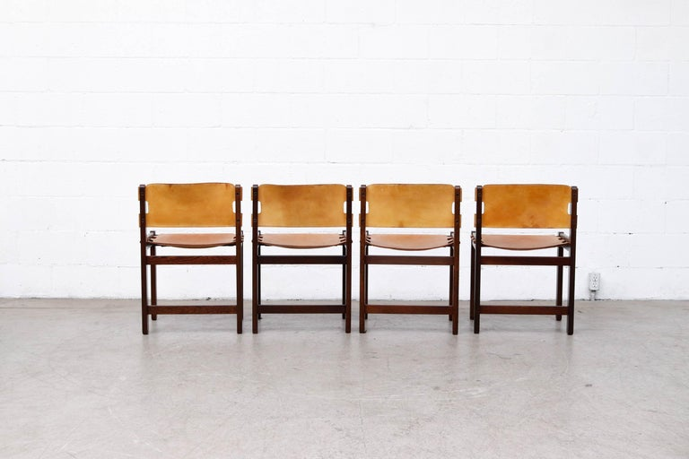 Late 20th Century Martin Visser Set of 4 Leather and Wenge Dining Chairs For Sale