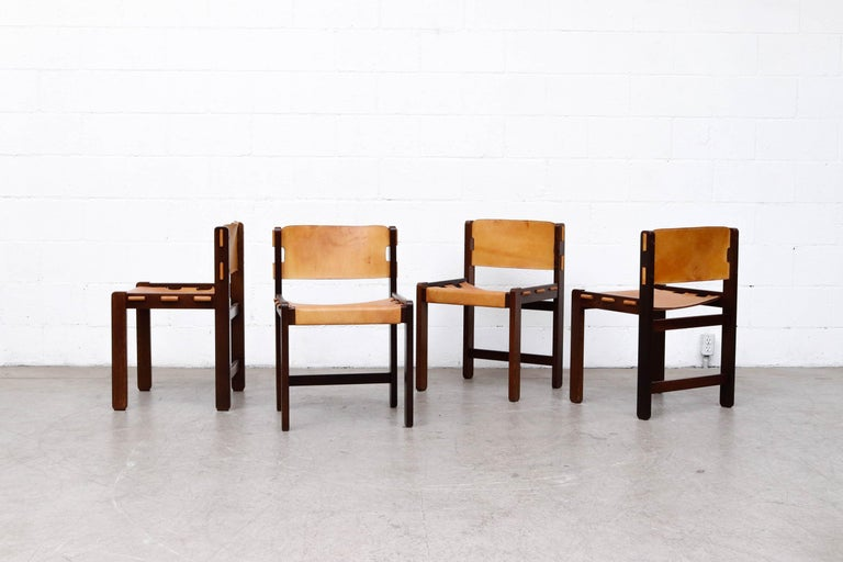 Martin Visser Set of 4 Leather and Wenge Dining Chairs For Sale 1