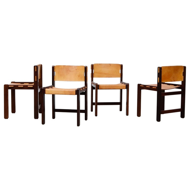 Martin Visser Set of 4 Leather and Wenge Dining Chairs For Sale