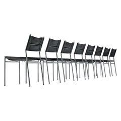 Martin Visser Set of 8 Dining Chairs in Original Black Leather