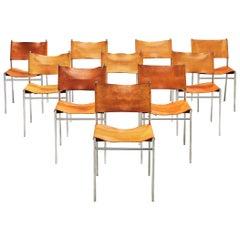 Martin Visser Set of Dining Chairs Model 'SE6' in Cognac Leather