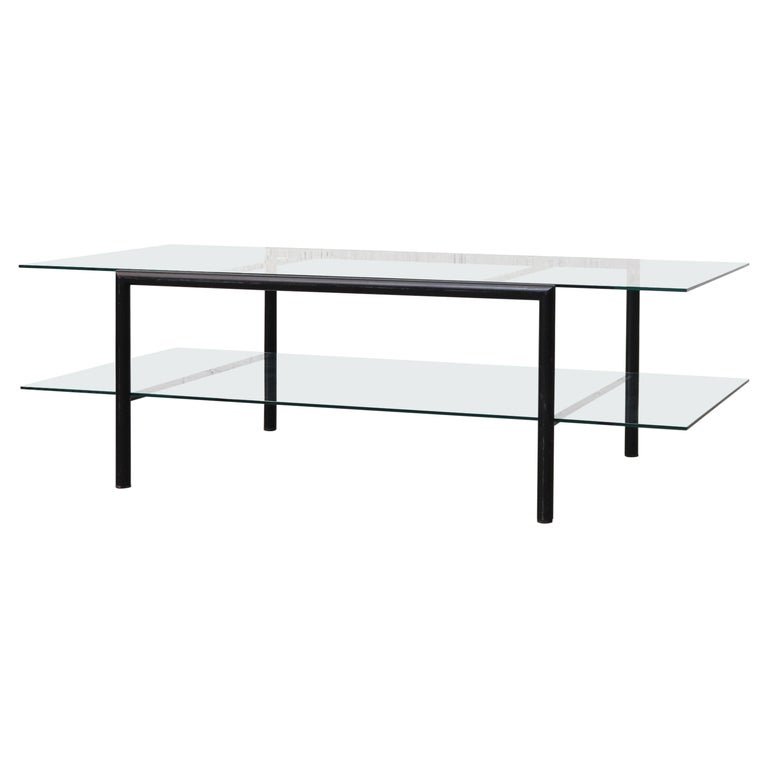 Martin Visser Style Two-Tiered Glass Coffee Table With