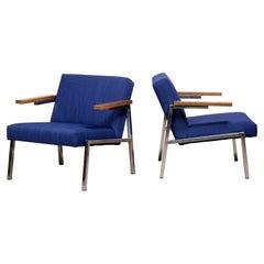 Martin Visser Lounge Armchairs in Blue Violet Wool for 't Spectrum